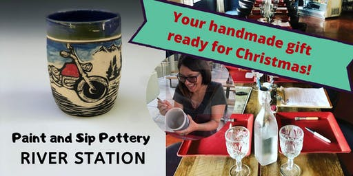 Ready for Christmas Paint and Sip Pottery at River Station!