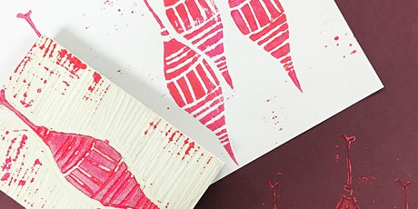 Block print your own unique Christmas card tickets