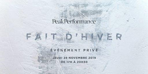 Fait d'hiver - Soirée d'ouverture Peak Performance Laval