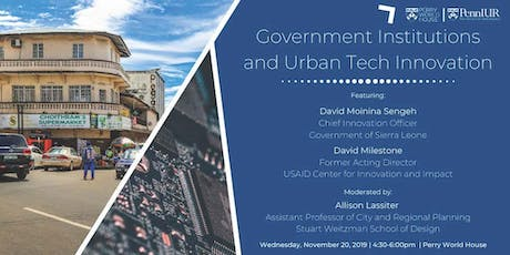 Government Institutions and Urban Tech Innovation (Postponed to 2020) tickets