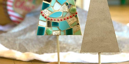 Small Rustic Christmas Tree Mosaic-With Stand