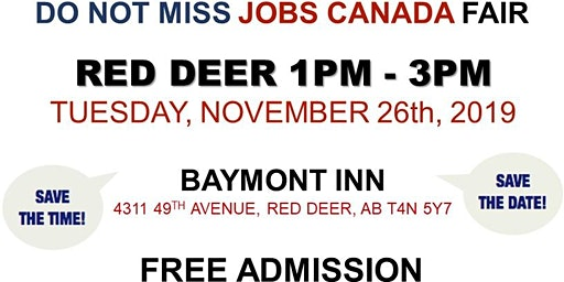 Red Deer Job Fair – November 26th, 2019