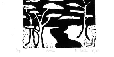 Nature in Black and White - Stuart Students' abstract lino-cuts