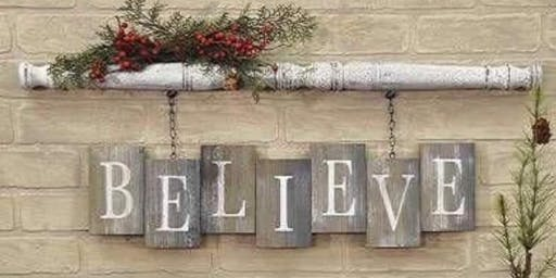 Holiday Believe Post Hanger Stone & Pallet™ Eco Art that helps our community!