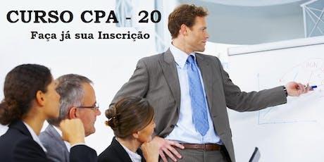 Curso Preparatório - CPA-20 - Aulas aos Sábados - Intensivo de dezembro 14/12 a 21/12  ingressos