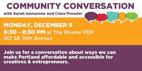 Community Conversation with Sarah Iannarone & Ciara Pressler tickets