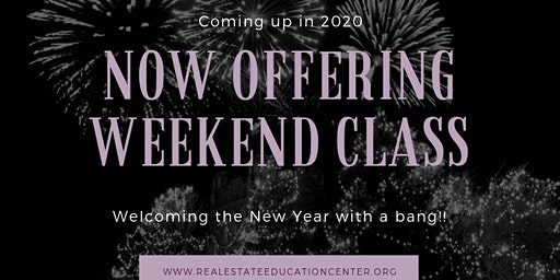 Weekend Classes Starting Jan 4th, 2020