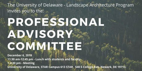 Professional advisory committee. Landscape Architecture. UD tickets