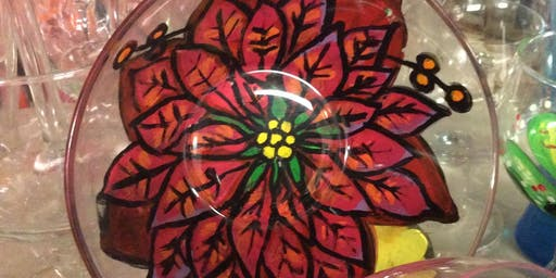 Sip n Paint Poinsettia Bowl or Plate $15 cheap