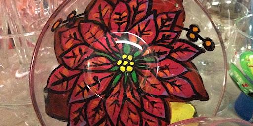 Sip n Paint Poinsettia Bowl or Plate $15 cheap