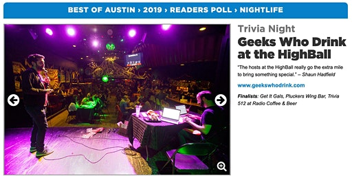 Geeks Who Drink trivia night at The Highball