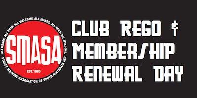 SMASA Club Rego, Monday 18th November 2019, 6:00pm to 6:30pm