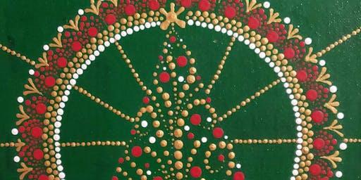 Christmas Tree Dot Painting Party at Brush & Cork