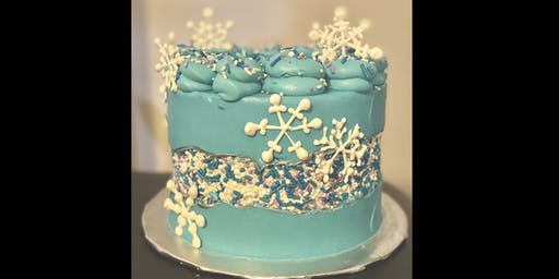 Winter Snowflake Fault Line Cake