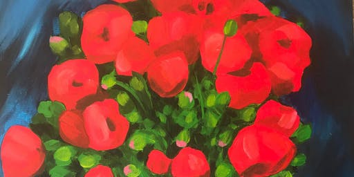 Red Flowers Painting Party at Brush & Cork