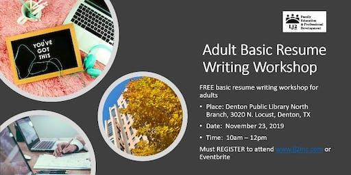 Adult Basic Resume Writing Workshop