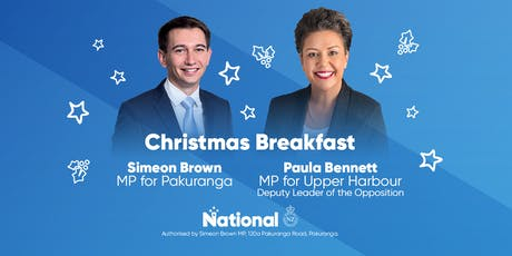 Christmas Breakfast with Simeon Brown and Paula Bennett tickets