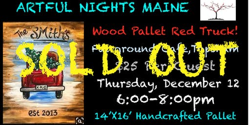 Wood Pallet Red Truck Paint Night at Fairground Cafe