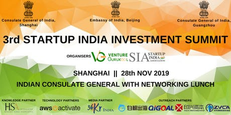 The 3rd Startup India Investment Summit, Shanghai tickets
