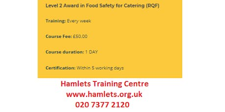 Food  Hygiene - Level 2 Award in Food Safety for Catering (RQF) tickets