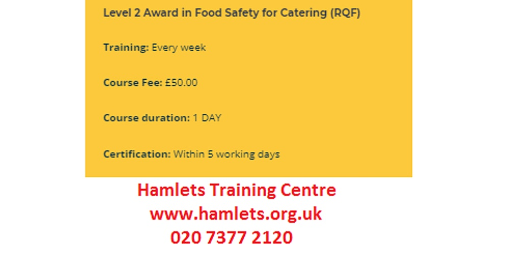 Food Hygiene Level 2 Award In Food Safety For Catering Rqf