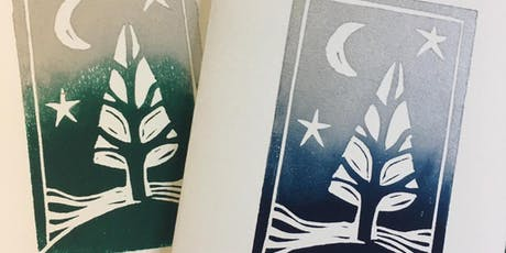 Lino Cut Christmas Cards - Design and Print tickets
