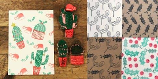 Christmas Card Lino cut stamping Workshop