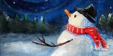 Snowman painting with Obrianna Cornelius