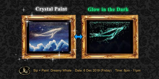 Sip and Paint (Crystal Paint+Glow in the Dark):  Dreamy Whale