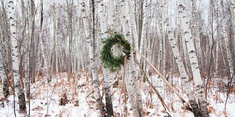 Couronne de Noël, feuillage naturel et fleurs séchées / Bouche Bée billets