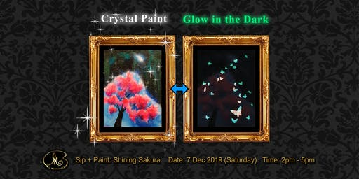 Sip and Paint (Crystal Paint+Glow in the Dark):  Shining Sakura