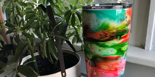 Ink Swirl Epoxy Tumbler Art (ie. badass personalized mug)