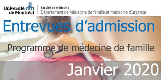Entrevues d'admission - Janvier 2020 - Université de Montréal
