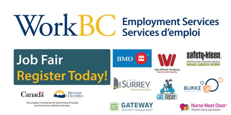 WorkBC South Surrey/White Rock Job Fair - Careers in Finance, Municipal, Construction, Homecare and Property Management tickets