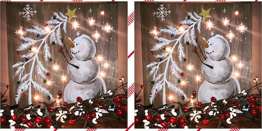 Snowman Light Up Painting on Wood-Russo's Italian Pub-Eastampton