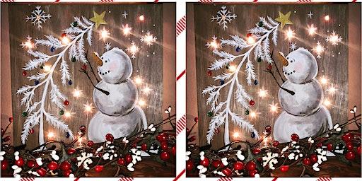 Snowman Light Up Painting on Wood-Russo's Italian Pub-Eastampton