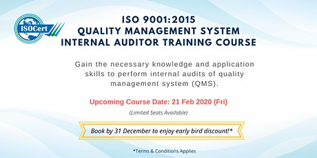 ISO 9001:2015 QUALITY MANAGEMENT SYSTEM – INTERNAL AUDITOR TRAINING COURSE tickets