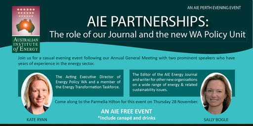 AIE PARTNERSHIPS:  The role of our Journal and the new WA Policy Unit