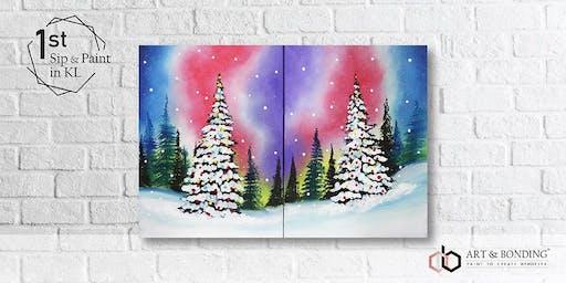Sunday Sip & Paint : Jigsaw Puzzle Painting - Galaxy Christmas