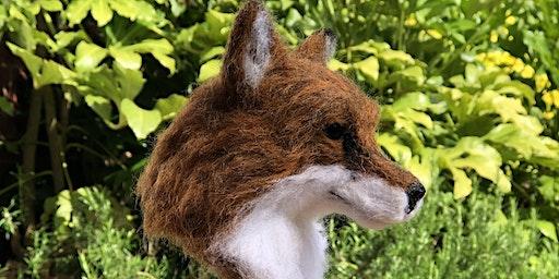 Needle felt hare head or fox head Day 2