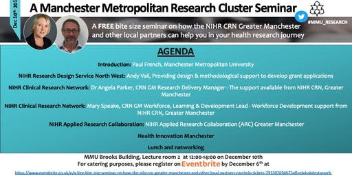 A FREE bite size seminar on how the NIHR CRN Greater Manchester and other local partners can help you in your health research journey