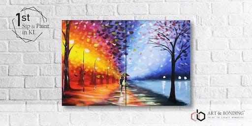 Sip & Paint Date Night : Couple Rain Walk by Afremov