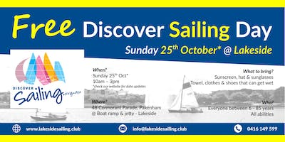 Free Discover Sailing Day @ Lakeside Pakenham
