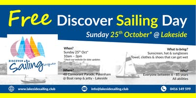 Free Discover Sailing Day @ Lakeside Pakenham