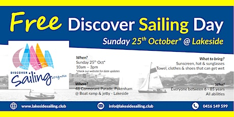 Free Discover Sailing Day @ Lakeside Pakenham tickets