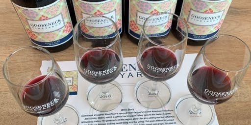 Gooseneck Vineyards pinot noir vertical tasting paired with cheeses