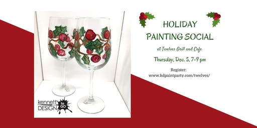 BYOB Paint & Sip - Holly and Berry Wine Glasses - Twelves Grill