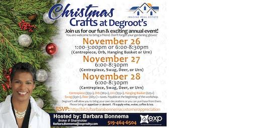 Barbara Bonnema - Customer Appreciation - Christmas Crafts at Degroots