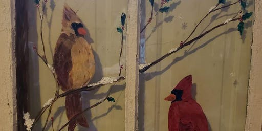 Winter Cardinal on Antique Window Paint & Sip