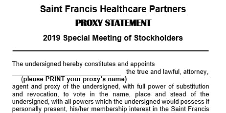 Saint Francis Healthcare Partners:  Special Meeting of Stockholders